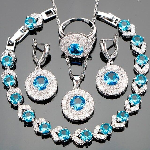 Neue Silber 925 Brautmodeschmuck Sets Blue Zircon Frauen Steine Halskette Ohrringe Ringe Set Schmuck Geschenk-box