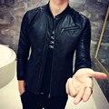 2016 leather jacket Mens Stand collar Black bomber jackets slim Fit oblique zipper tactical bape jackets jaquetas masculina Club