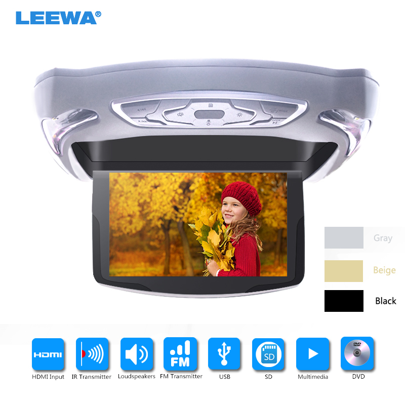 LEEWA 10.1 Inch Car Roof Mounted DVD Player Digital LCD TFT Monitor Celling Flip Down DVD USB FM TV Game IR Remote black grey 12v truck bus 17 inch tft lcd roof mounted monitor flip down monitor for car dvd player tv usb sd fm vga speaker ca1294 12v page 5 page 9