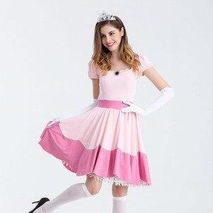 Image 5 - Deluxe Volwassen Prinses Perzik Kostuum Vrouwen Prinses Peach Super Mario Bros Party Cosplay Kostuums Halloween Kostuums