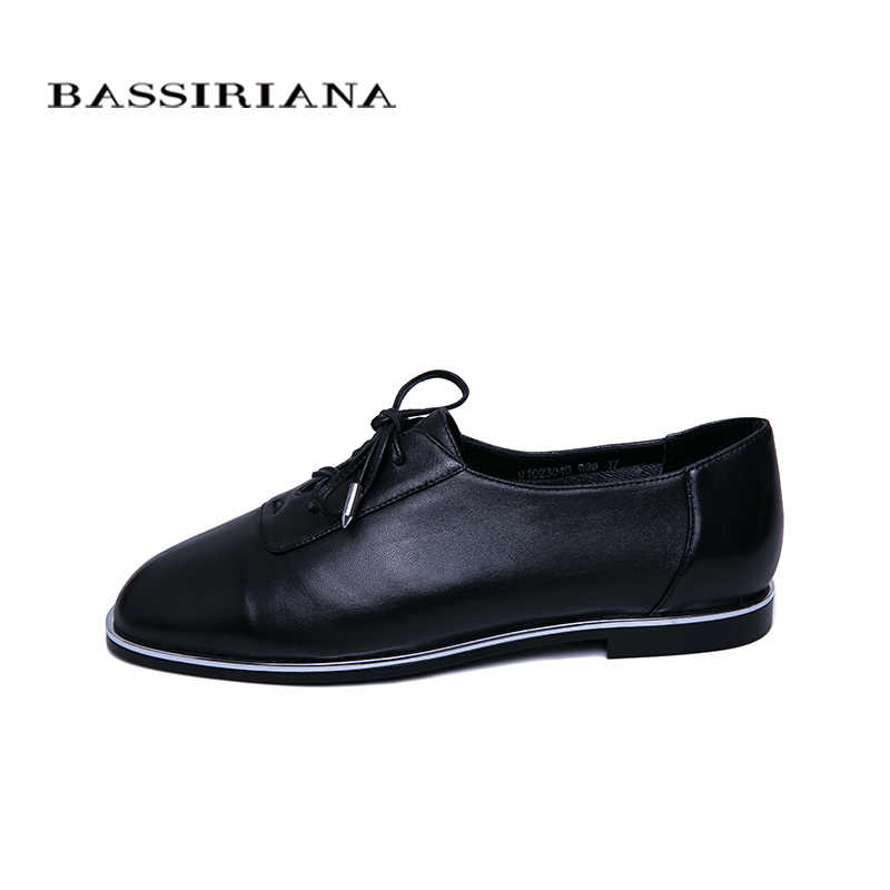 BASSIRIANA new spring genuine leather women's loafers flat shoes round head comfortable women's shoes