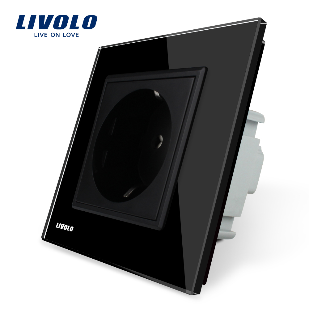 Free Shipping Livolo EU Power Socket Black Crystal Glass Panel 16A EU Standard Wall Outlet Without