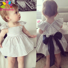 Enbaba Kids Clothes Summer 2016 Brands Fashion Baby Girls Clothing Set Stripe belt dress + shorts Suits toddler girl outfits