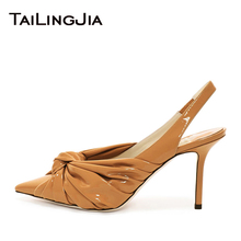 Woman Wedding Yellow 9CM Low Heel Knotted High Pumps Pointed Toe Elegance Summer Spring Shoes Black Ladies Wholesale