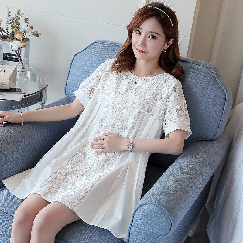 Maternity dresses Korean version of the summer pregnant women dress lace stitching plush size pregnancy clothes women shirt ...