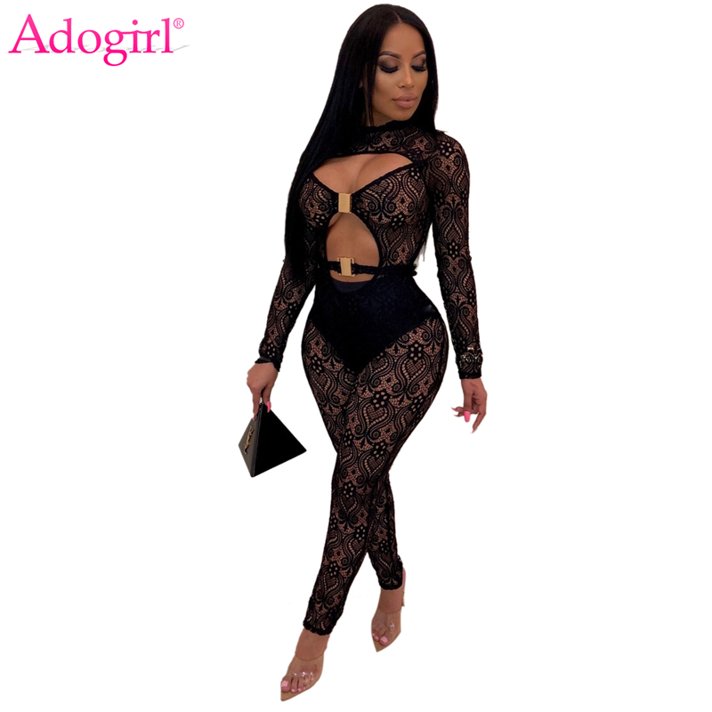 Adogirl Women Sexy Hollow Out Sheer Lace Jumpsuit with Panties Long Sleeve Night Club Party Skinny Romper Fashion Bodysuits