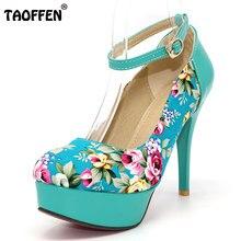 Taoffen/Цветочный принт Обувь на высоком каблуке и платформе кеды ультравысокий каблук Лоскутная вечернее платье обувь P11801 Размер 32–42