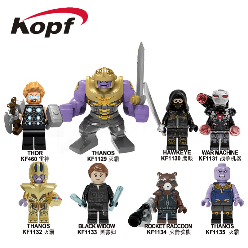 Building Blocks The Avengers 4 INFINITY WAR Thor Hawkeye War Machine Thanos Black Widow Figures For Children Model Toys KF6091
