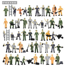 P8710 50pcs 1:87 HO Scale Railway Model Worker Well Painted Figures with Bucket and Ladder Miniature 2cm
