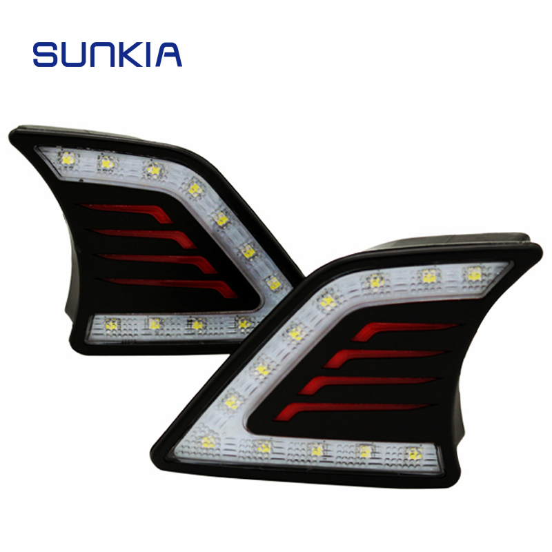 SUNKIA Car Styling Daytime Running Lights LED DRL for Toyota Hilux Revo Vigo 2012 2013 2014 Day Light 2015 2017 car wind deflector awnings shelters for hilux vigo revo black window deflector guard rain shield fit for hilux revo