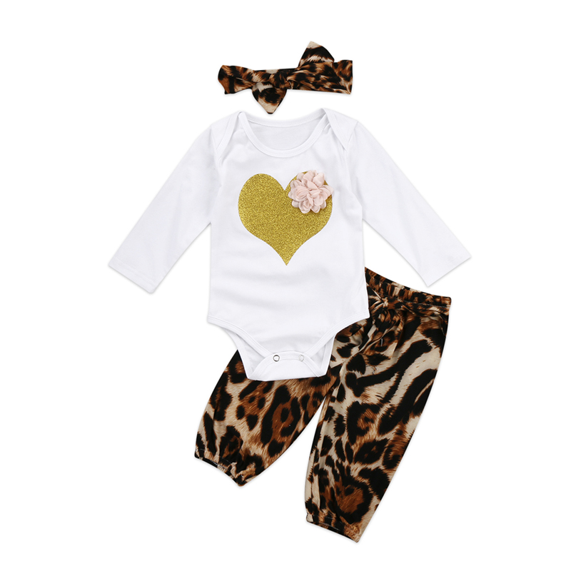 New Cute Newborn Baby Girl Clothes Long Sleeve Tops Romper Leopard Pants Outfits Set Clothes