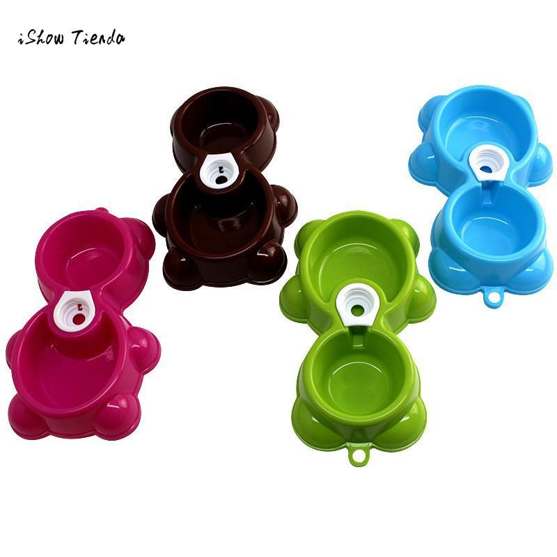 ISHOWTIENDA 2016 Hot Sale Dish Water Food Feeder Fountain Bear Double Bowl Hot Puppy Dog Cat Bowl drop shipping