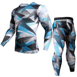 Рашгард мужской футболки базовый слой + сжатия Штаны леггинсы 2 шт. Камуфляжный костюм мужчины термобелье ММА Костюмы