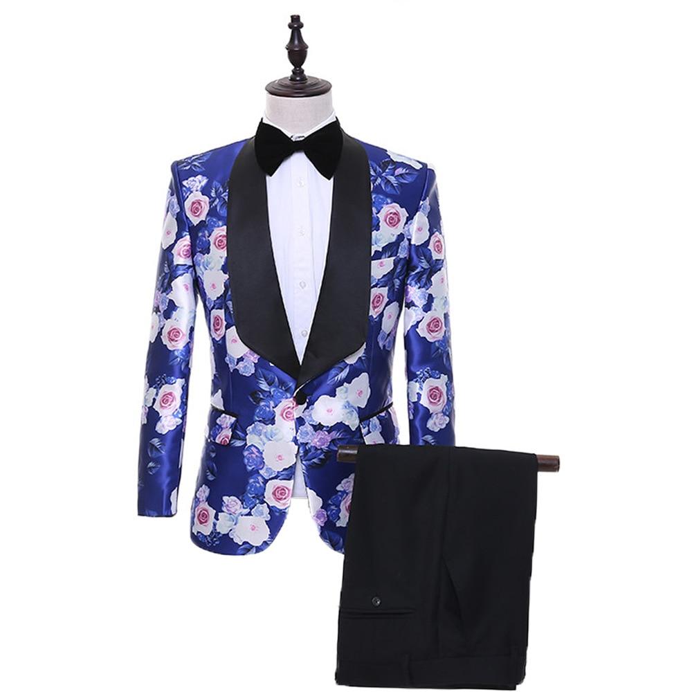 Men's Suit Men's Printed Fashion Gentleman Suit Two-piece Suit (jacket + Pants) Men's Business Banquet Formal Suit
