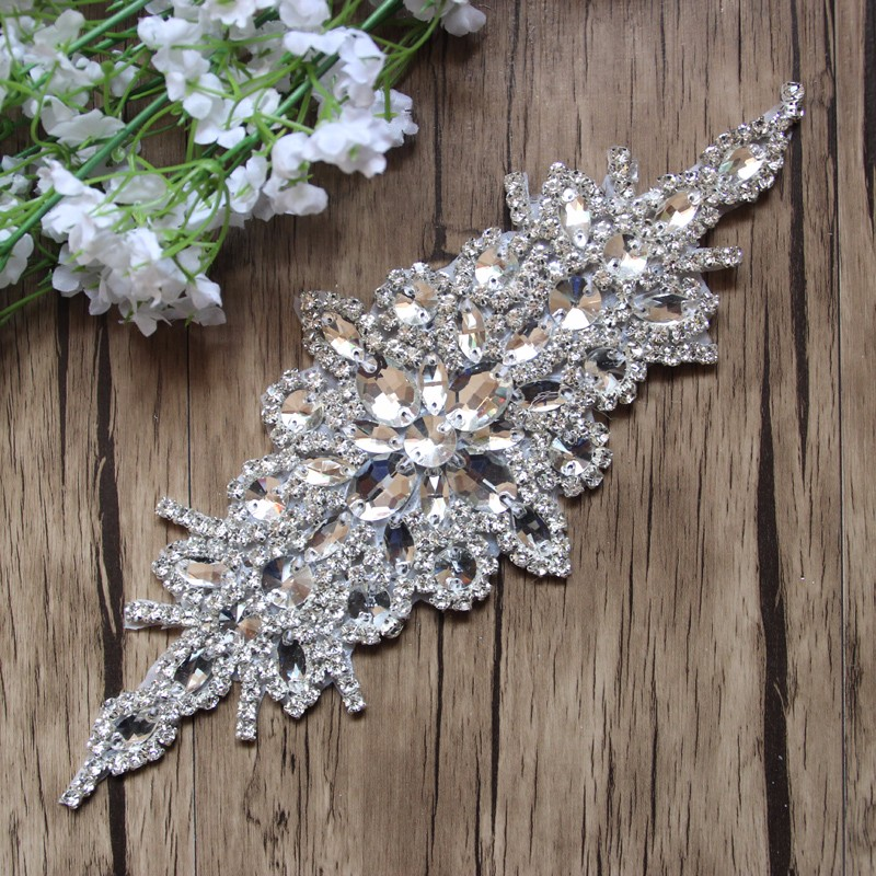 Free Shipping 10pcs lot 9 5 Rhinestone Applique Embroidery Patch Wedding Bridal DIY Accessories Rhinestone Patch