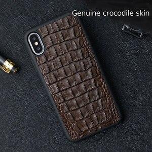 Image 4 - 100% vera pelle di Coccodrillo Custodia In Pelle Per iphone X XR XS Max Copertura per iPhone XS XSMax 12 Mini 7 8 6 5 più di 6S Casse Del Telefono di Lusso
