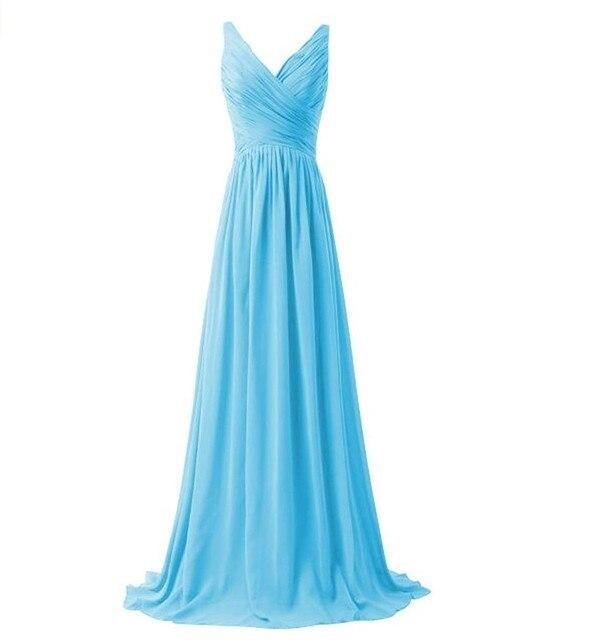 22 Color Long Bridesmaid Dresses A Line Cap Sleeve V Neck Wedding ...