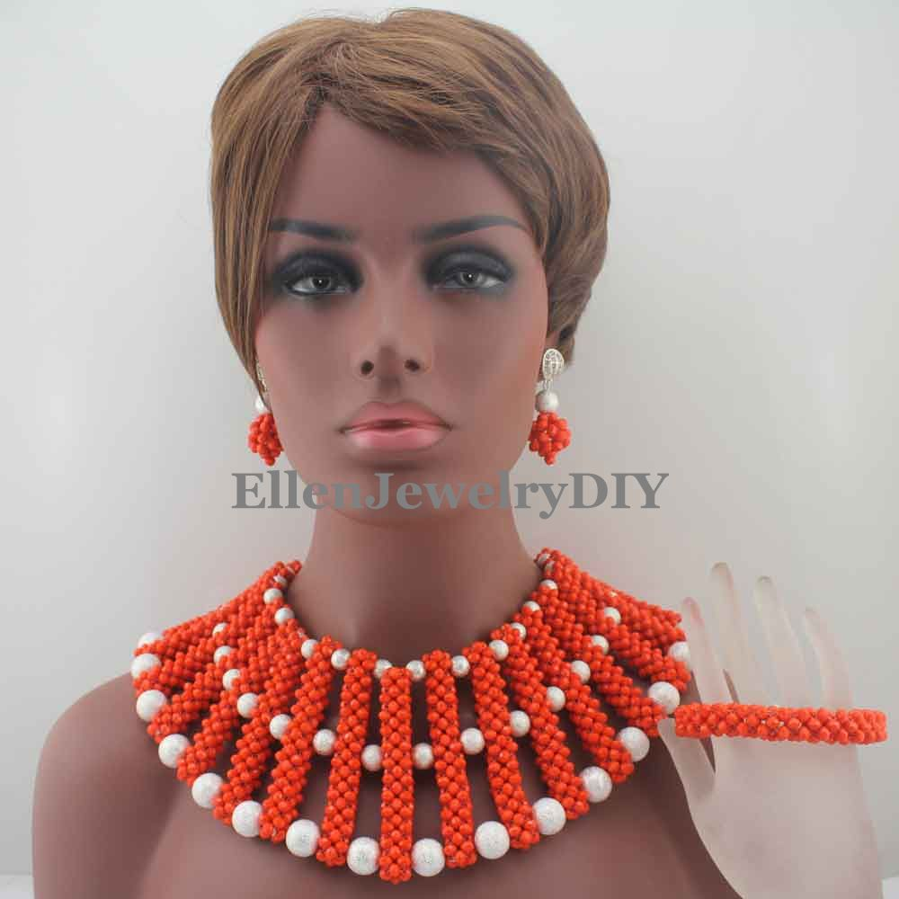 Coral African beads Bride Jewelry Set Nigerian Wedding Party Beads Statement Necklace women Free Shipping W13081 new fashion nigerian african wedding coral beads jewelry set chunky statement necklace set full beads free shipping cnr345