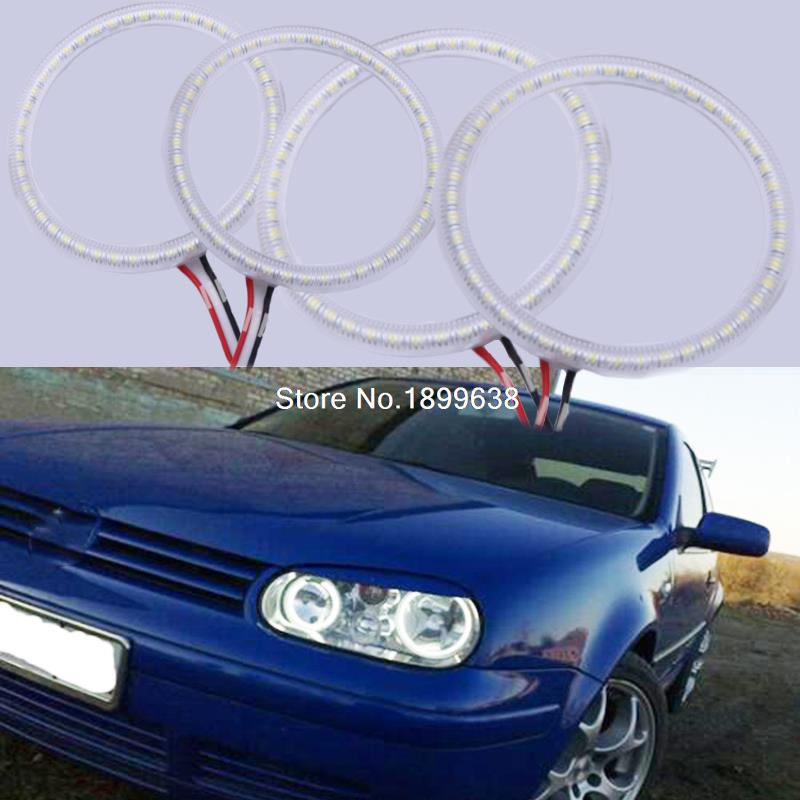 4pcs/set Super bright 7000K white 3528 smd led angel eyes halo rings car styling For Volkswagen VW Golf 4 IV MK4 1998 - 2004 pu grey front lip chin spoiler bumper guard for volkswagon vw golf 4 iv mk4 standard 1998 2004 non gti car styling