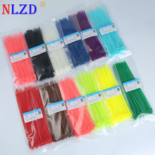 2 dm Self locking Nylon Cable Ties 8 inch 100Pcs 12 color Plastic Zip Tie 18 lbs black wire binding wrap straps Hallowmas toys