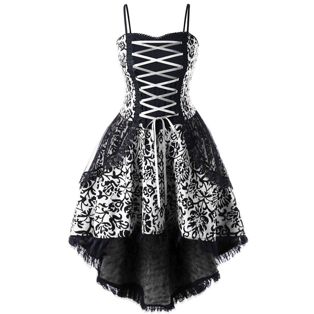 LANGSTAR Più Il Formato 5XL Lace Up Dip Orlo Corsetto del Vestito Delle Donne Vintage UNA Linea Sottile Elegante corsetto Vestito Da Partito Femminile vestido Femme