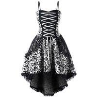LANGSTAR Plus Size 5XL Lace Up Dip Hem Corset Dress Women Vintage A Line Slim Elegant
