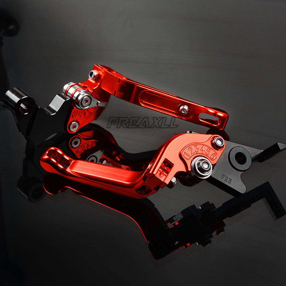CNC Aluminum Motorbike Levers Motorcycle Brake Clutch Levers Foldable Extendable Adjustable For Moto Guzzi V9 Bobber Roamer 2016 in Levers Ropes Cables from Automobiles Motorcycles