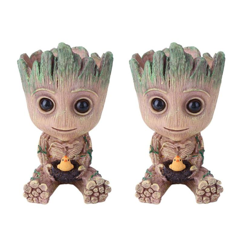 Groot Planter Pot Baby Flowerpot Action Figures Toy Pen Pot PVC Hero Model Crafts Figurine Home Decor Support Dropshipping