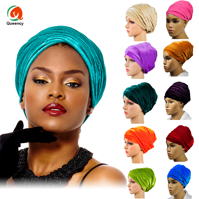 HQT02 DHL High Quantity India Muslim Caps For Party Wedding African Headwrap Soft Velvet Turban Scarf