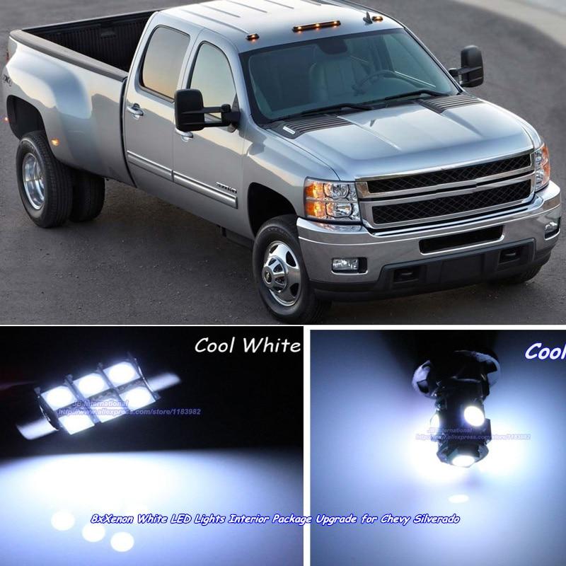 8 Pcsx Car Xenon White Led Lights Interior Kit Upgrade For Chevy Silverado 2007 2013 Led Dome