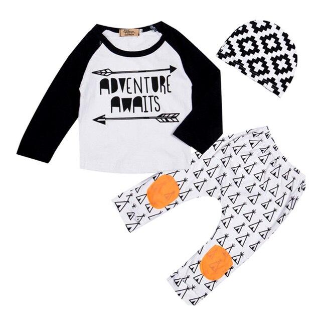 5be86c22b Newborn Baby Boy girls Clothes Set Adventure Awaits Long Sleeve  romper+hat+pants newborn 3pcs Set knee padded