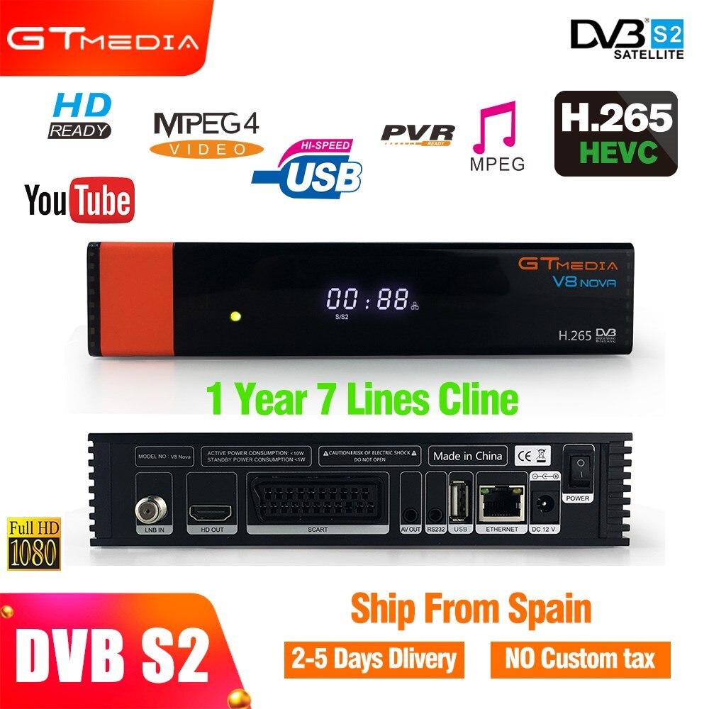 Gtmedia v8 nova + 1 an L'europe cccam 7 clines HD Récepteur Satellite intégré wifi Dongle soutien H.265 Powervu Biss clé boîte de télévision