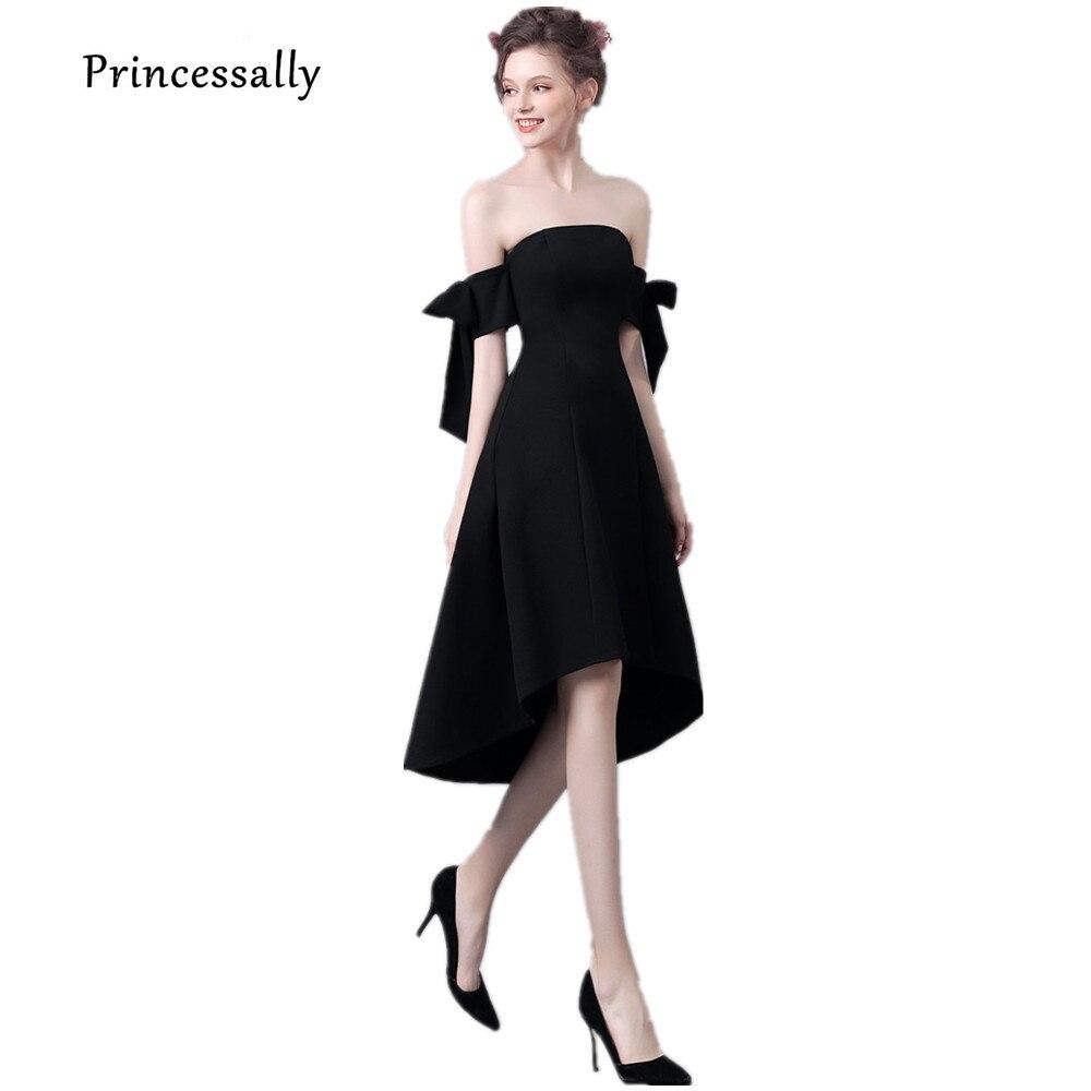 8d71e5d794ed New Little Black Dress In Primo Piano Abito Da Cocktail Senza Spalline Bow  Maniche Elegante Semplice Homecoming Festa di Laurea di Promenade Vestido  in New ...