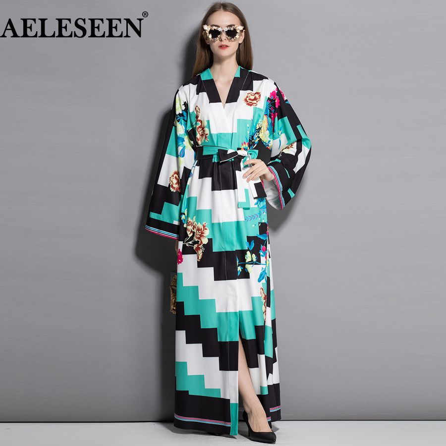 AELESEEN Split Loose Runway Maxi Cardigan Dress Full Sleeve Autumn Elegant 2018 Floral Print Belt Contrast