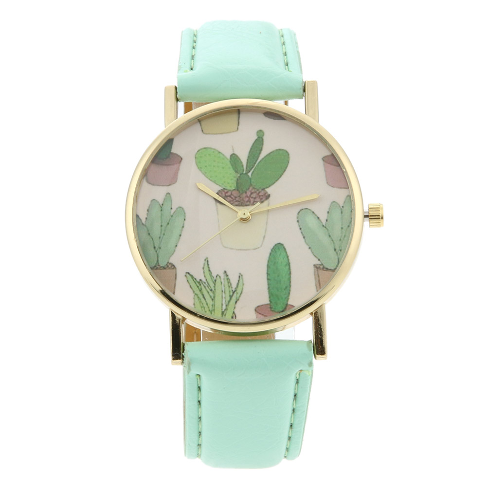 New Brand Fashion Women Watches Ladies Green Plant Cactus Printing Leather Band Watch Relogio Feminino