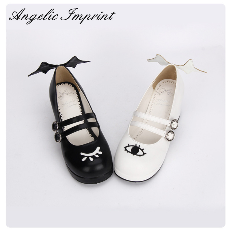 The Devil and Angle s Eye Wing Black and White Gothic Lolita Shoes Square Heel Mary