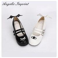 O Olho do Diabo e Ângulo & Asa Preto e Branco Gothic Lolita Sapatos Mary Jane Sapatos de Salto Quadrado