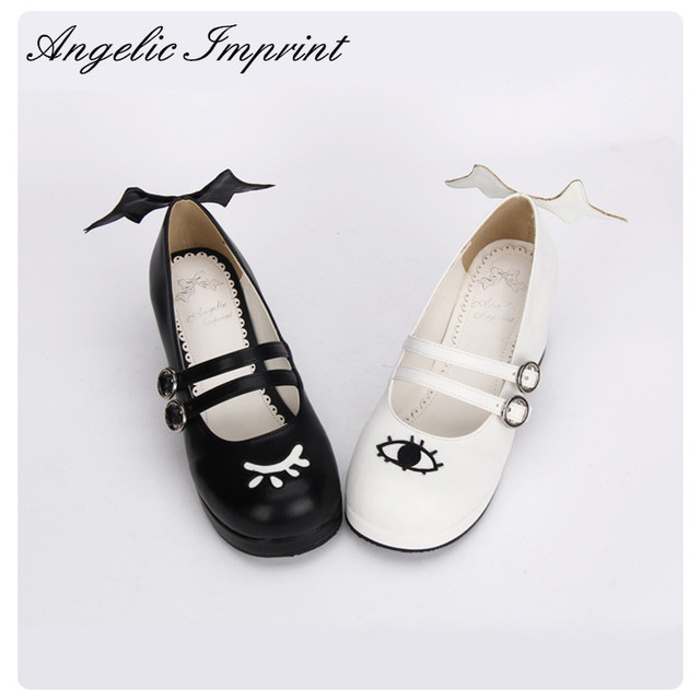 6b2718b58ef The Devil and Angle s Eye   Wing Black and White Gothic Lolita Shoes Square  Heel Mary Jane Shoes