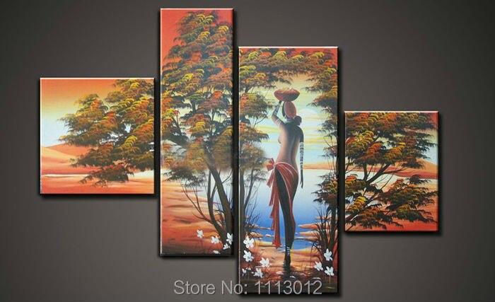 Afrika sexy lidé květ strom olejomalba na plátně 4 panel umění sada moderní domácí abstraktní nástěnná malba obrázek pro obývací pokoj