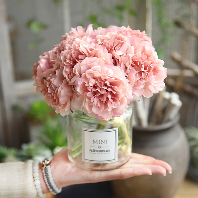 ผ้าไหมสีชมพูไฮเดรนเยียประดิษฐ์ดอกไม้งานแต่งงานดอกไม้สำหรับเจ้าสาวผ้าไหม Blooming Peony ปลอมดอกไม้สีขาวตกแต่ง