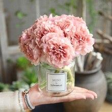Pembe ipek ortanca yapay çiçekler düğün çiçekleri gelin el ipek blooming şakayık sahte çiçekler beyaz ev dekorasyon