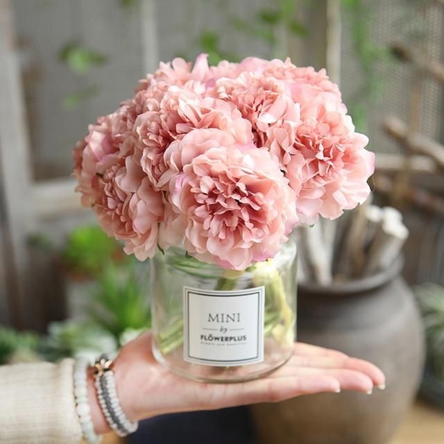Rosa seide hortensien künstliche blumen hochzeit blumen für braut hand seide blühende pfingstrose gefälschte blumen weiß hause dekoration