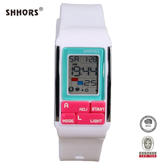 SHHORS Brand Sport Digital Watch Kids Electronic Children Watches Silicone Band