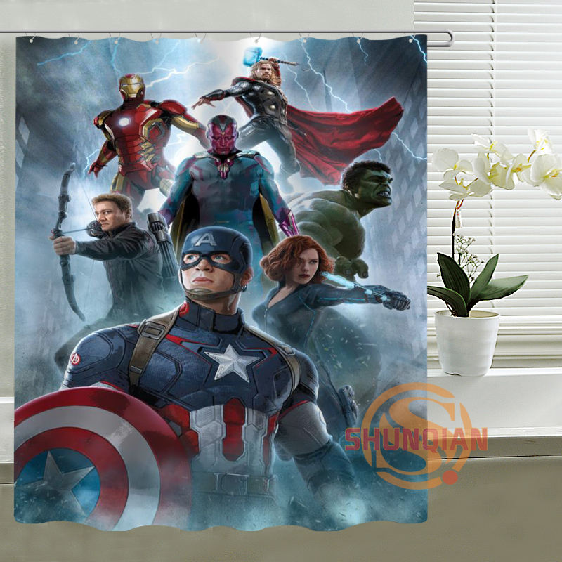 The Avengers Captain America Hulk Iron Man Shower Curtain Custom Waterproof polyester fabric Bathroom Curtains