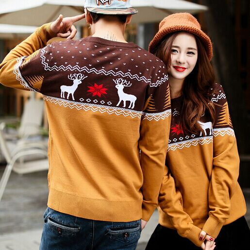 109e1ecd4e New matching couple christmas sweaters Women Men Ugly Christmas Sweater  Reindeer Snowflake Pullover for couples Xmas knit Jumper