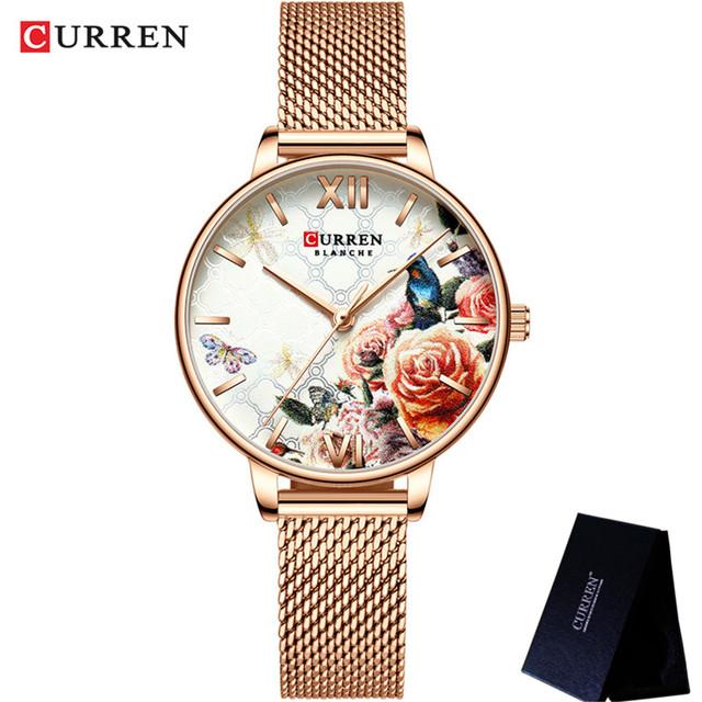 CURREN Women Watch Top Brand Luxury Black Female Waterproof Clock Mesh Stainless Steel Bracelet Flower Ladies Wristwatch 9060