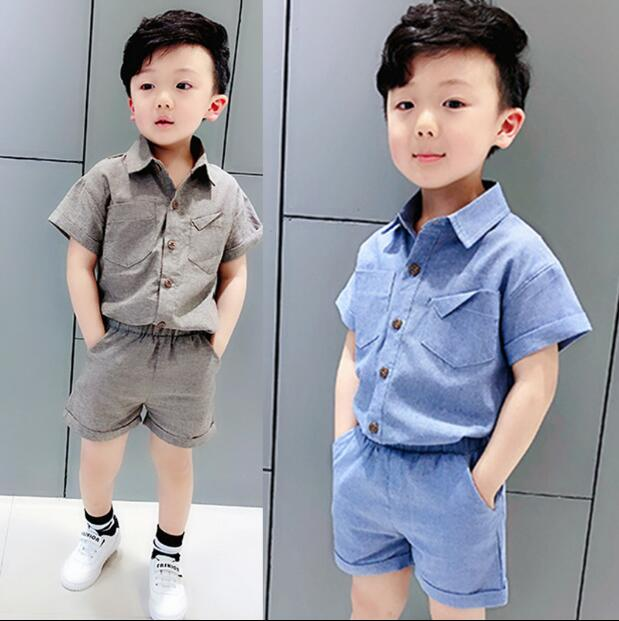 c4544ecab9c 2-9 age new 2018 summer handsome boys clothing set 2pcs kids shirt+pant  clothes sets boys summer clothing sets