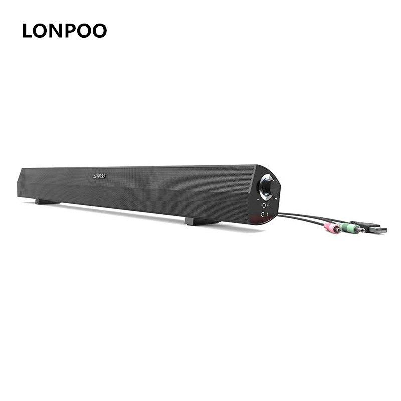 LONPOO Speakers 10W MP3 USB Speaker Headphone Soundbar TV Stereo Soundbar Speakers For Computer iPhone PC Laptop TV Sound Bar