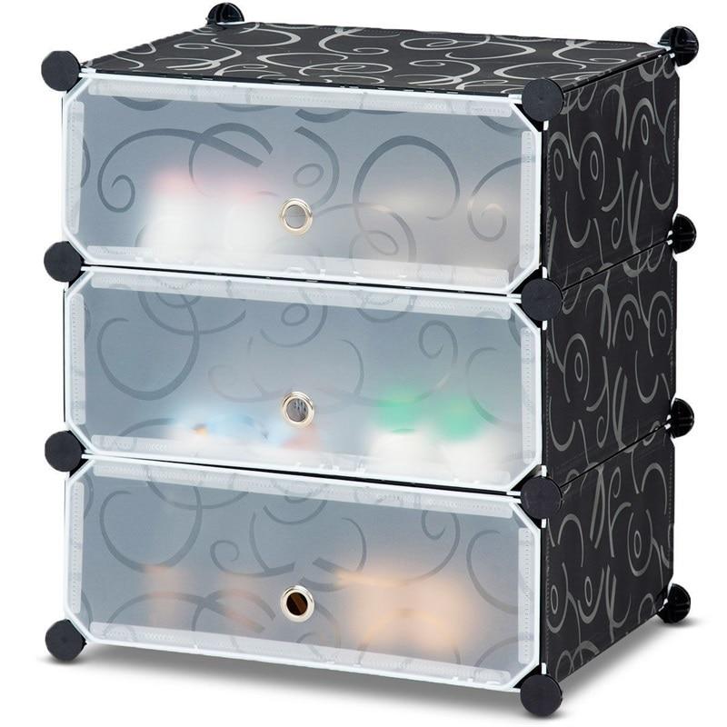 DIY 3 Cube 6 Pair Modern Space Saving Portable Shoe Storage Cabinet Sturdy Iron Frame Multifunction cubes Organizer HW59325