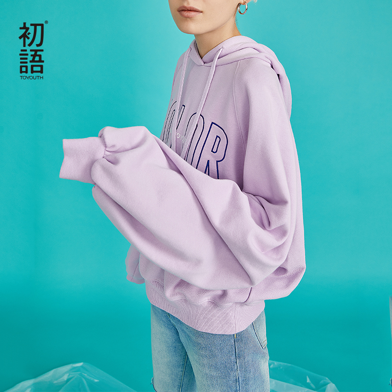 Toyouth Women Oversized Hoodie Women Sweatshirt Hooded Letter Long Sleeve Casual Female Pullover Hoodies Autumn Winter Outerwear